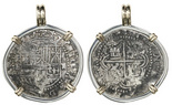 Potosi, Bolivia, cob 2 reales, Philip II, assayer B (4th period), mounted cross-side out in silver bezel with 14K gold prongs and bail.