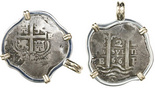 Potosi, Bolivia, cob 2 reales, 1666E, mounted pillars side out in silver bezel with 14K gold prongs and bail.