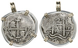 Potosi, Bolivia, cob 2 reales, 1700F, mounted pillars side out in silver bezel with 14K gold prongs and bail.