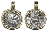 """Kingdom of Macedon, AR drachm (smaller coin), Alexander III (""""the Great""""), 336-323 BC, mounted head-side out in 14K gold pendant."""