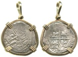 Potosi, Bolivia, cob 2 reales, Philip III, assayer B, mounted cross-side out in 14K.