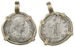 Roman Empire, AR denarius, Caracalla, 198-217 AD, mounted head-side out in 14K gold bezel.