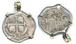 Potosi, Bolivia, cob 2 reales, 1697VR, mounted cross-side out in silver pendant with 14k gold prongs and bale. Choice full cross with clear date, full but cruder pillars, toned Fine. m081504152012