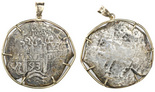 Potosi, Bolivia, cob 8 reales, 1693VR, from the 1715 Fleet, mounted pillars-side out in 14K gold pendant-bezel.