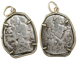Mexico City, Mexico, cob 4 reales, Philip V, assayer not visible, from the 1715 Fleet, mounted out in 14K gold pendant-bezel.