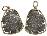Mexico City, Mexico, cob 2 reales, Philip III, assayer not visible, from the 1715 Fleet, mounted in 14K gold pendant-bezel.
