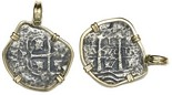 Potosi, Bolivia, cob 8 reales, 1679C, from the Consolacion (1681), mounted in 14K bezel.