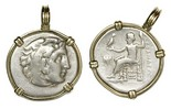 "Kings of Macedon, AR drachm (smaller pendant), Alexander III (""the Great""), 336-323 BC, mounted head-side out in 14K gold bezel with large shackle bail. Head of Herakles right, wearing lion's skin headdress / Zeus seated left, holding eagle in right hand."