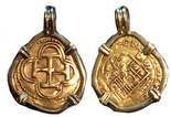 Seville, Spain, cob 2 escudos, Philip III, assayer B, mounted in 18K pendant-bezel.