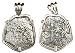 Mexico City, Mexico, cob 4 reales, Philip V, assayer not visible, from the 1715 Fleet, mounted in silver pendant.