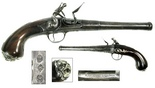 "Flintlock pistol, English, ca. 1720 (Queen Anne period), with silver inlays and buttplate, marked and signed by maker Pierre Gandon (senior). 1 lb 8.8 oz, 13"" long. A very cute and well-marked little pistol, fully intact and operable, with cannon-type barrel that shows GANDON LONDON stamped under the lock on the breech, 3 touchmarks on the other side of the trigger, beautifully aged walnut grip with silver ornamental inlays and dogface butt, very attractive overall."