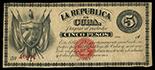 Havana, Cuba, La Republica de Cuba, 5 pesos, 1869, series A, serial 10872.