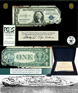 USA, $1 silver certificate, series 1935D, serial V40075861F, salvaged from the Andrea Doria (1956), in large PCGS Currency capsule and promotional case, Grade