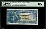 Bogota, Colombia, Banco de la Republica, 10 pesos oro, 1-1-1953, series N, serial 14651325, PMG Gem UNC 65 EPQ, ex-Eldorado.