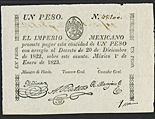 Mexico, Empire of Iturbide, 1 peso, dated January 1, 1823, encapsulated PMG Choice Uncirculated 64.