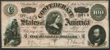 Confederate States of America (Richmond, Virginia), one hundred dollars, dated February 17, 1864, series II, serials 8003, 8017, 8018.