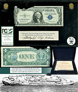 USA, $1 silver certificate, series 1935E, serial P99539939H, salvaged from the Andrea Doria (1956), in large PCGS Currency capsule and promotional case, grade