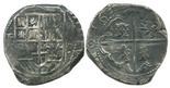 Potosi, Bolivia, cob 8 reales, 1630T. Bold full cross with very bold 163 of date, full but weaker shield, VF with dark toning all over, possibly salvaged.