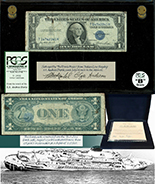 USA, $1 silver certificate, series 1935D, serial T87631791F, salvaged from the Andrea Doria (1956), in large PCGS Currency capsule and promotional case, grade