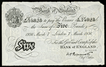 London, Great Britain, Bank of England, counterfeit 5 pounds, 7-3-1936, block A/290, serial 15823, Operation Bernhard counterfeit.