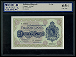 Falkland Islands, 1 pound, 2-1-1967, serial E36302, WBG UNG Gem 65 TOP.