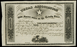 Louisville, Kentucky, Texas Association (Republic of Texas), stock certificate remainder, ca. 1858, 8,000 square miles on the Trinity River.