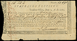 Hartford, Connecticut, Treasury Office, pay certificate denominated 14 pounds 14 shillings and 6 pence payable to Wm Williams, June 1, 1780, serial 14698.