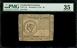 United Colonies, $8, 2-11-1776, serial 25735, signed by Benjamin Levy, PMG VF 35.