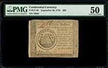 United States, $50, 26-9-1778, serial 79564, PMG AU 50.