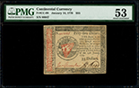 United States, $55, 14-1-1779, serial 66647, PMG AU 53.