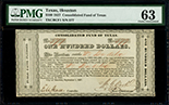 Houston, Texas, Consolidated Fund, $100, payable to William Beardslee, 1-9-1837, serial 577, PMG Choice UNC 63.