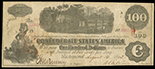 Richmond, Confederate States, $100, 16-8-1862, plate A, serial 34383, with Pressley Charleston 1862 and Macon 1864 and 1865 interest stamps.
