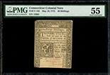 Connecticut, 40 shillings, 10-5-1775, serial 15982, PMG AU 55.
