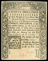 Hartford, Connecticut, 20 shillings, 1-3-1784, serial 2515.