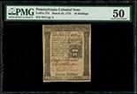 Pennsylvania, 16 shillings, 25-3-1775, serial 2017, PMG AU 50.