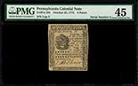 Pennsylvania, 9 pence, 25-10-1775, serial 3, PMG Choice XF 45.