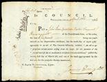 Philadelphia, Pennsylvania, 6 pounds, payable to Quarter Master Sergeant John Jones of Col. Hazens' Regiment, 10-4-1784.