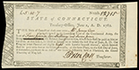 Hartford, Connecticut, Treasury Office, 5 pounds 10 shillings and 7 pence, payable to James Carr of the Connecticut Line of the Continental Army, 1-6-1788, serial 12715, signed by Treasurer Peter Colt.